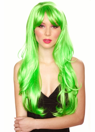 Long Layered Apple Green Wig with Bangs