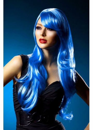 Long Layered Dark Blue Wig Carmen with Bangs