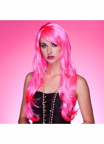 Long Layered Sultry  Wig with Bangs in Pink Explosion