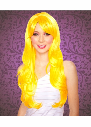 Long Layered Yellow Wig Carmen with Bangs