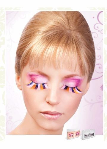 Long Pink, Blue and Yellow Lashes