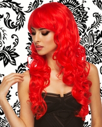 Long Red Burlesque Wig with Bangs