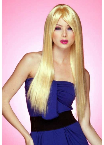 Long Straight Wig with Bangs in Apricot Blonde