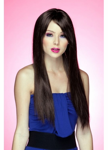 Long Straight Wig Divine with Bangs in Chocolate