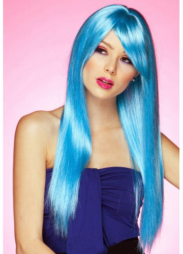 Long Straight Wig Divine with Bangs in Cool Blue