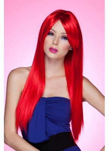 Long Straight Wig with Bangs in Firecracker Red