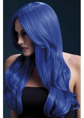 Long Wave Wig Khloe with Middle Part in Neon Blue