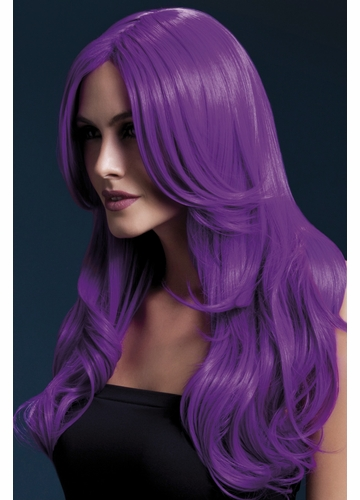 Long Wave Wig Khloe with Middle Part in Neon Purple