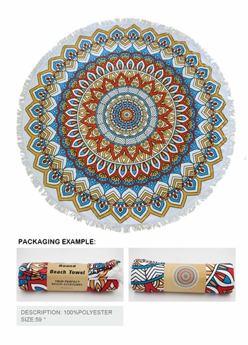 Mandala Round Beach Blanket Coverup