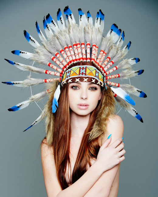 Medium Indian Feather Headdress In White And Blue