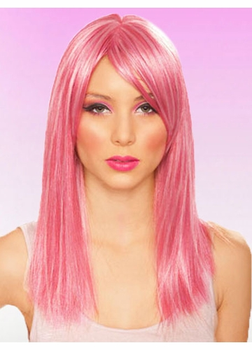 Medium Length Wig in Mixed Shades of Pink