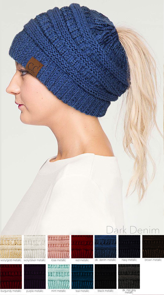 Metallic CC Beanie Hat with Open Ponytail 808620354bb