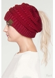 Metallic CC Beanie Hat with Open Ponytail  inset 2