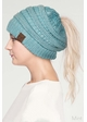 Metallic CC Beanie Hat with Open Ponytail  inset 3