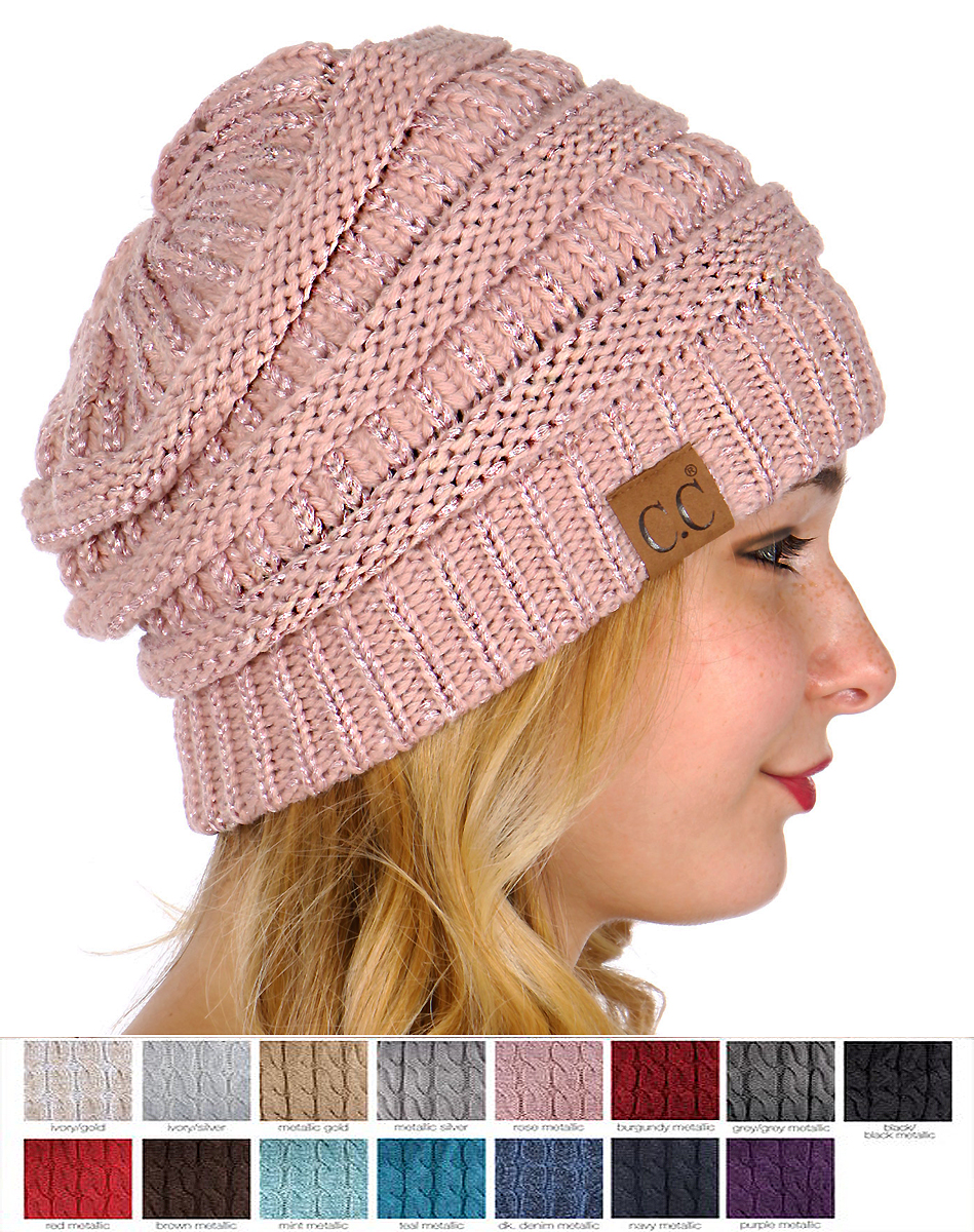 Metallic Yarn Knit CC Beanie Hat c8b8f69538c