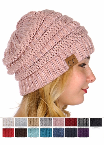 Metallic Yarn Knit CC Beanie Hat