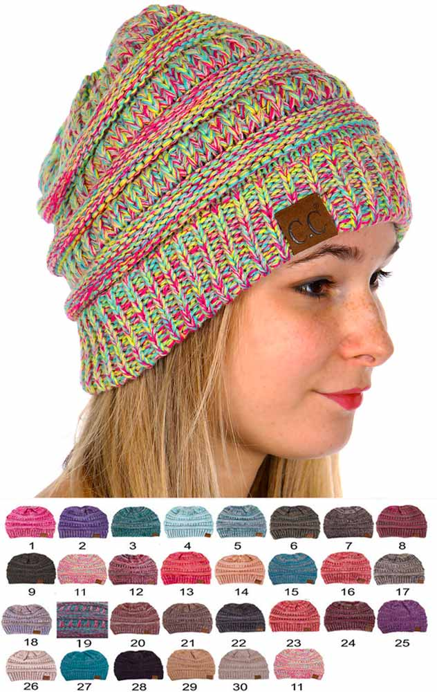 Multi Color Knit CC Beanie Hats fb9340fca68