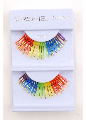 Multi Rainbow Lashes with Gold Metallic Wisps