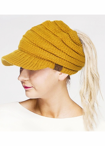 Mustard CC Beanie Hat with Brim and Ponytail Opening
