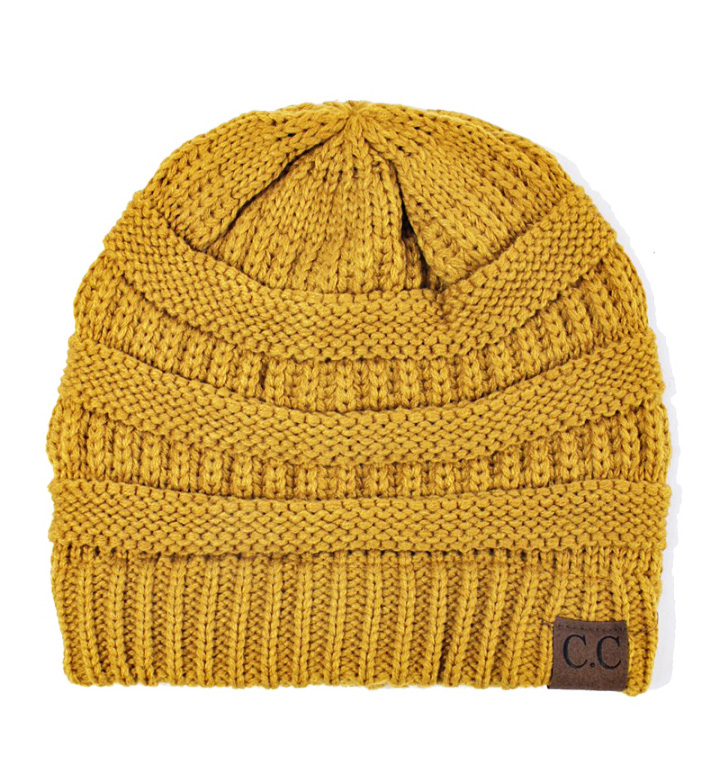 cee7a24df70 Mustard Ribbed Knit CC Beanie Hat inset 1 ...