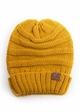 Mustard Slouchy Knit CC Beanie Hat inset 1