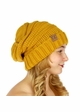 Mustard Slouchy Knit CC Beanie Hat inset 4