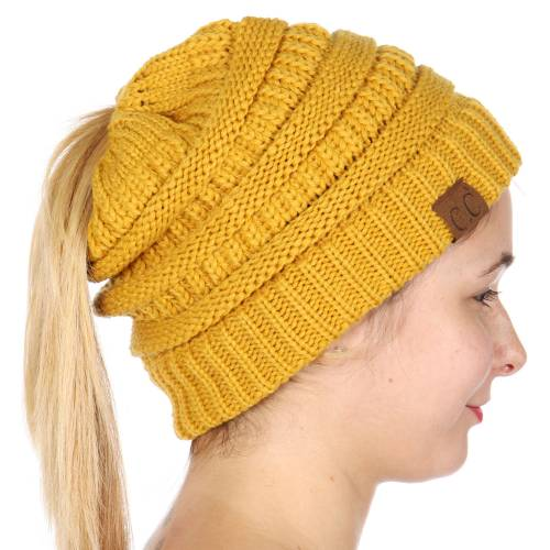 3e4a8572a8c Mustard Yellow CC Beanie Hat with Open Ponytail