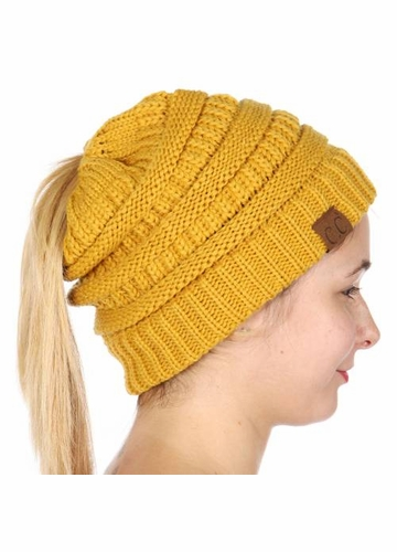 Mustard Yellow CC Beanie Hat with Open Ponytail