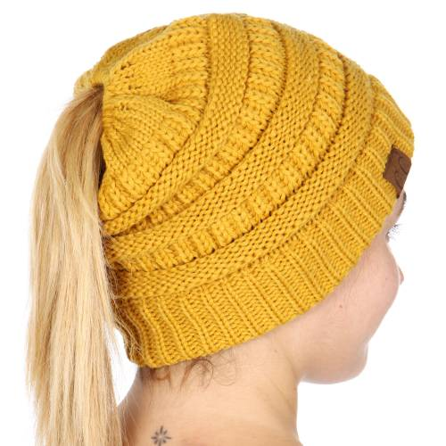 43bbccfb Mustard Yellow CC Beanie Hat with Open Ponytail