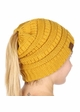 Mustard Yellow CC Beanie Hat with Open Ponytail  inset 1