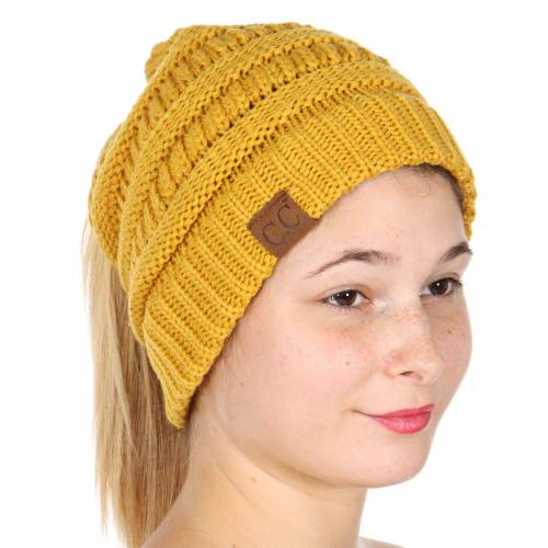 e4ff8b86e13 ... Mustard Yellow CC Beanie Hat with Open Ponytail inset ...