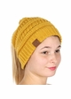 Mustard Yellow CC Beanie Hat with Open Ponytail  inset 2