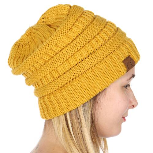 ... Mustard Yellow CC Beanie Hat with Open Ponytail inset 3 046d152c7dd