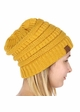 Mustard Yellow CC Beanie Hat with Open Ponytail  inset 3