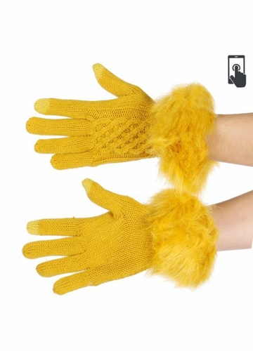 Mustard Yellow Knit CC Gloves with Matching Pom Pom
