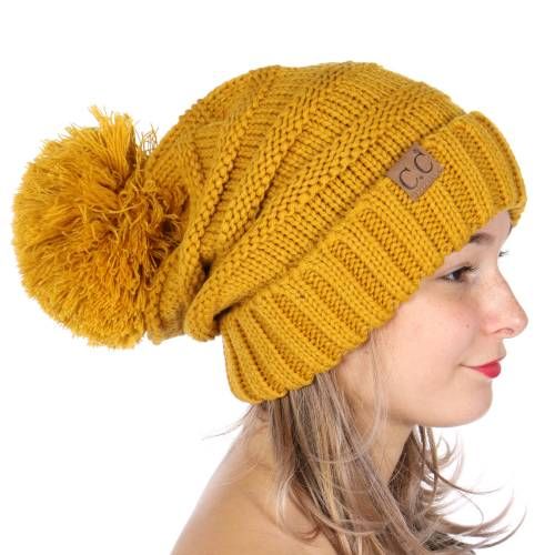 Mustard Yellow Slouchy CC Beanie Hat with Pom Pom 3ac768d7734