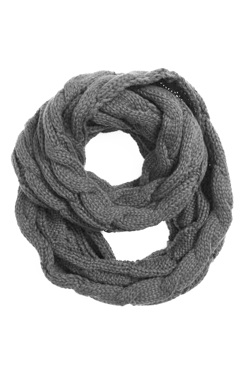 de3bc66964074 Natural Grey CC Brand Cable Knit Infinity Scarf