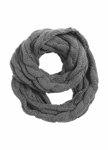 Natural Grey CC Brand Cable Knit Infinity Scarf