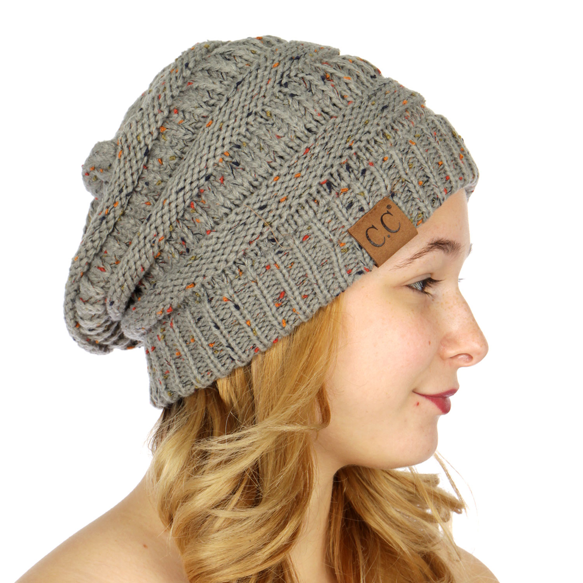 1815a588f59 ... Natural Grey Confetti Knit CC Beanie Hat inset 4