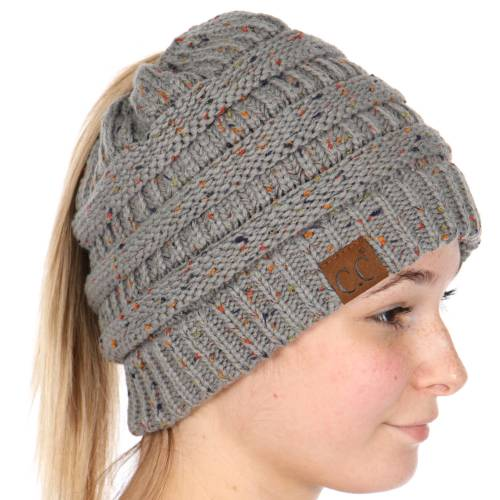 46028a2265c Natural Grey Confetti Knit BeanieTails Beanie Hat by CC Brand
