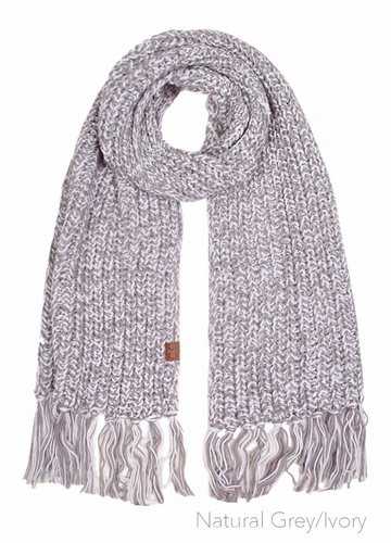 Natural Grey/Ivory Chunky Knit Scarf by CC Brand
