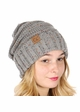 Natural Grey Slouchy Confetti Knit CC Beanie Hat inset 1