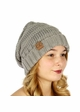 Natural Grey Slouchy Knit CC Beanie Hat inset 1
