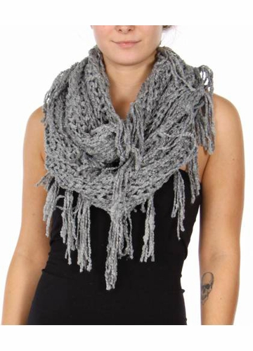 Natural Grey Twisty Chenille Yarn Infinity CC Scarf with Fringe