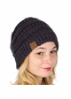 Navy and Dark Grey Two Tone Knit Beanie Hat inset 1