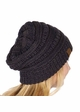 Navy and Dark Grey Two Tone Knit Beanie Hat inset 2