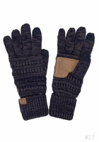 Navy and Dark Grey Two Tone Knit Gloves from CC Brand