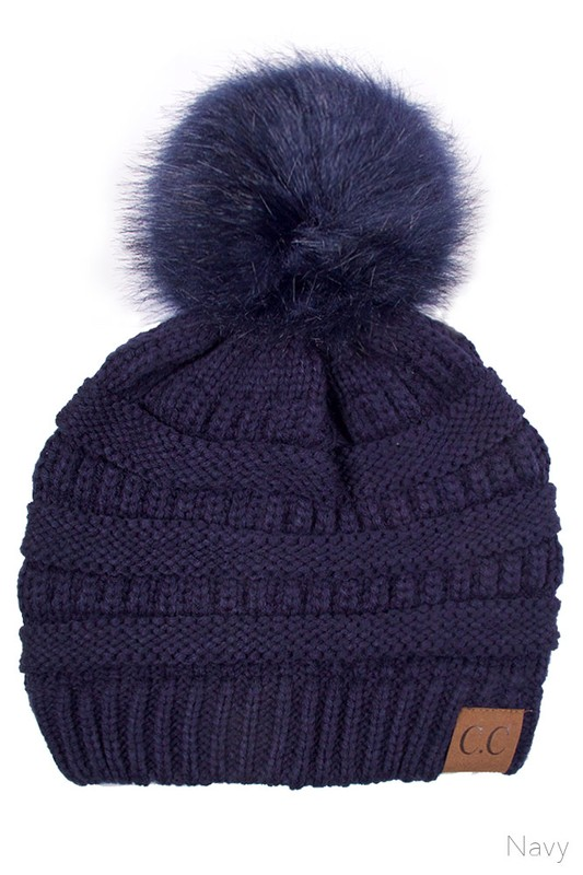 Navy CC Knit Beanie Hat with Matching Fur Pom Pom bb06204f2ae8