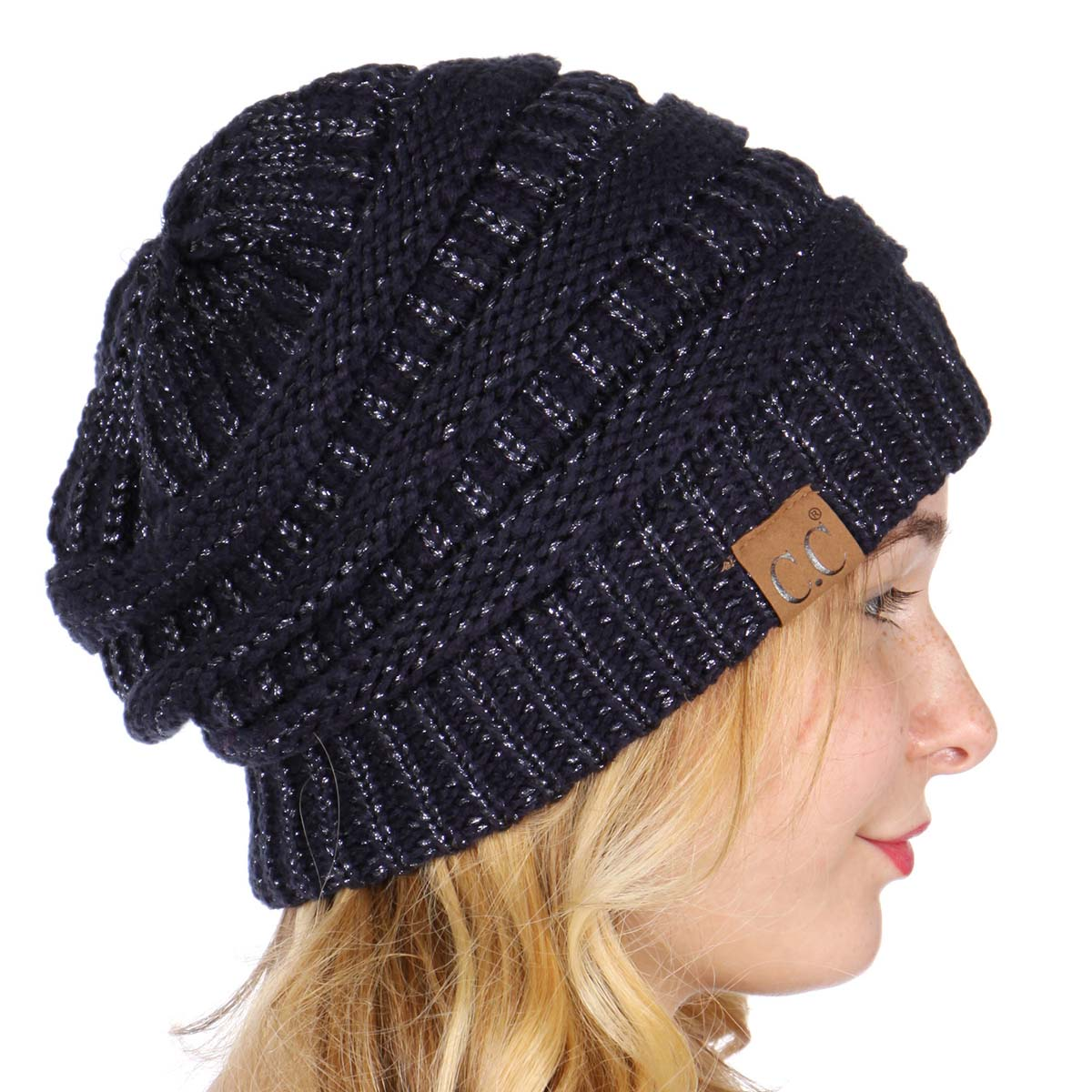 b2b9fd42ff7 ... real navy metallic yarn knit cc beanie hat e63e9 1c21d