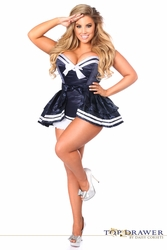 Navy Satin Sailor Corset Halloween Costume